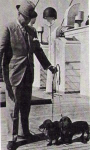 Herbert Bertrand of Ellenbert Kennel, returning from Germany on the SS Bremen with some new additions.