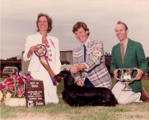 Bayard la Manon winning Best in Show at the Seattle DCA with Judge Dorothy Hutchinson, Habdler Dan Harrison and Trophy Presenter Larry Sorenson