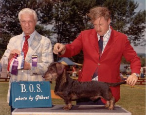 CH Briarpatch Pickwick Papers (CH Pondwicks Hobgoblin ROMO ex Pickwick Miss) with Judge Peter Knoop and owner Bobby Fowler 1972