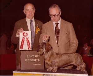 CH Rose Farm's Moonbow W ROM, Judge Lyman Fisher for handler Howard Nygood and owner Dee Hutchinson 1978