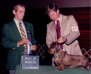 CH Rose Farm's Gypsy Moth W and Judge Gerhart Plaga and oner Dan Harrison. She became one of Lon Strauch and John Brading's foundation bitches a few months later